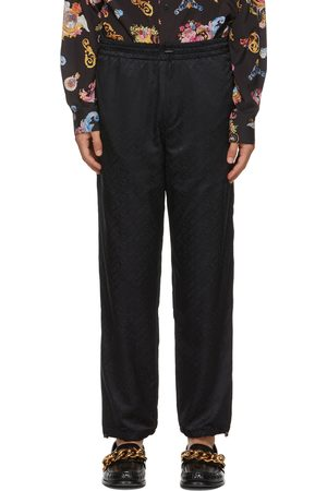 VERSACE Black Nylon Logo Sweatpants