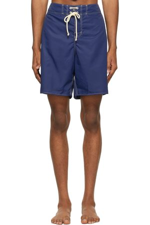 Jil Sander Men Swim Shorts - Blue Satin Swim Shorts