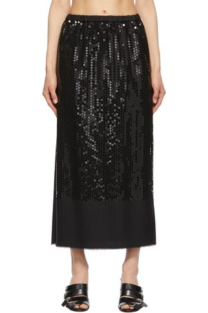 JUNYA WATANABE Black Wool Stripe Sequin Embroidery Skirt