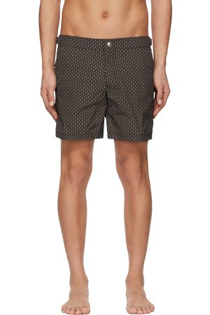 Alexander McQueen Men Swim Shorts - Black & Brown Skull Dots Swim Shorts