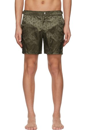 Alexander McQueen Men Swim Shorts - Khaki Skull Swim Shorts