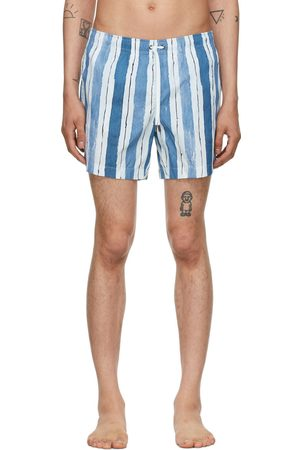Ermenegildo Zegna Blue & White Striped Mid Swim Shorts