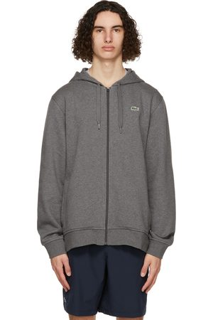 Lacoste Men Sports Hoodies - Grey Bi-Material Sport Zippered Hoodie