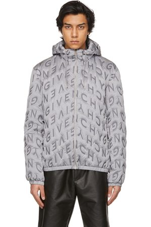 Givenchy Grey Allover Refracted Logo Thermo-Quilted Windbreaker Jacket