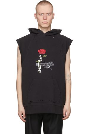 C2H4 Black 'My Own Private Planet' Distressed Rose & Score Sleeveless Hoodie