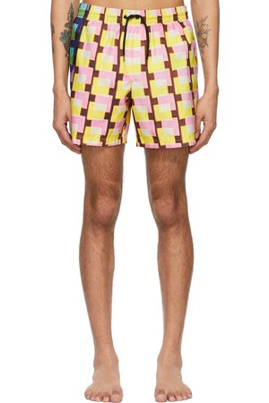 DRIES VAN NOTEN Yellow Len Lye Edition Graphic Swim Shorts