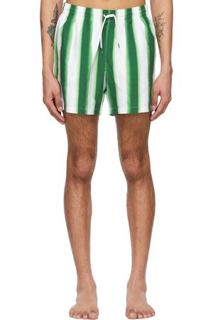 DRIES VAN NOTEN Green & White Len Lye Edition Graphic Swim Shorts