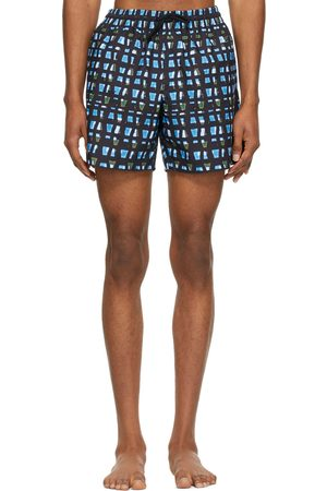 DRIES VAN NOTEN Black & Blue Len Lye Edition Graphic Swim Shorts