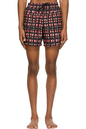 DRIES VAN NOTEN Black & Pink Len Lye Edition Graphic Swim Shorts