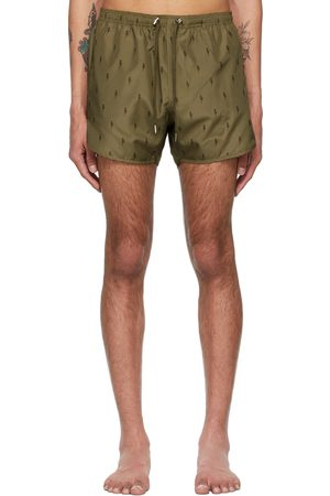 Neil Barrett Khaki Allover Thunderbolt Swim Shorts