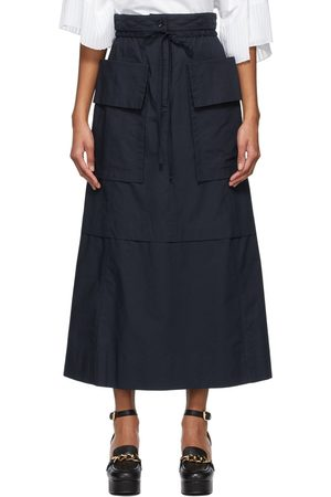See by Chloé Navy Poplin Layered & Pleated Skirt