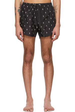 Neil Barrett Black Allover Thunderbolt Swim Shorts