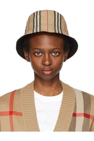 Burberry Women Hats - Reversible Beige Icon Stripe Bucket Hat