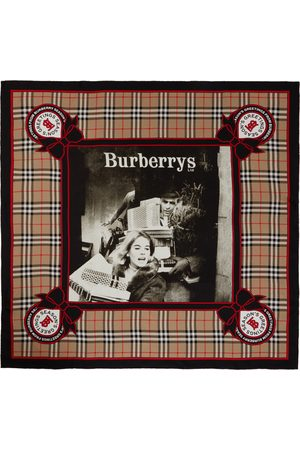 Burberry Beige Silk Archive Campaign Scarf