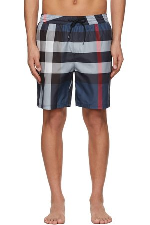 Burberry Men Swim Shorts - Navy Check Guildes Swim Shorts