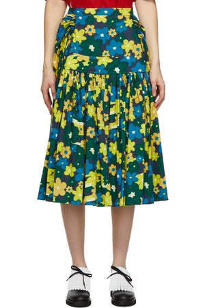 Marni Green Rainbow Flower Printed Full Skirt