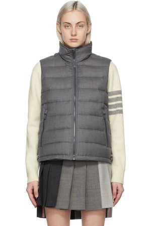 Thom Browne Grey Down Super 120s Funnel Neck Vest