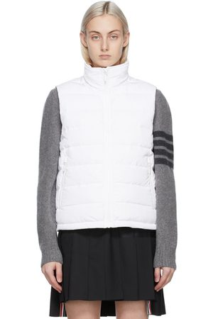 Thom Browne White Down RWB Funnel Neck Vest