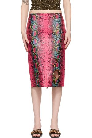 VERSACE Women Leather Skirts - Pink Leather Snake Skirt