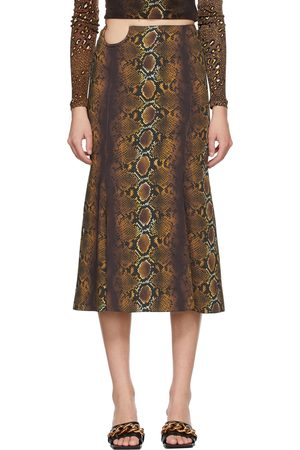 Versace Women Printed Skirts - Brown Python Print Skirt