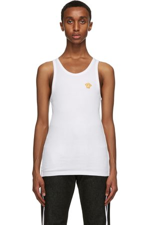 VERSACE White Embroidered Medusa Tank Top