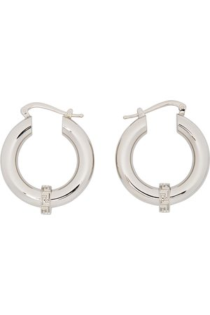 VERSACE Silver Small Greca Hoop Earrings
