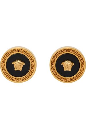 Versace Gold & Black Small Enamel Medusa Earrings