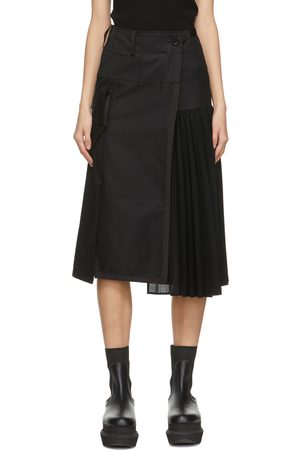 Sacai Black Half Pleat Skirt