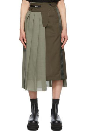 SACAI Khaki Pleated Suiting Skirt