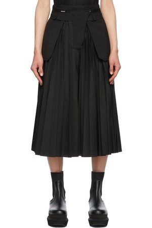 SACAI Black Poplin Pleated Skirt