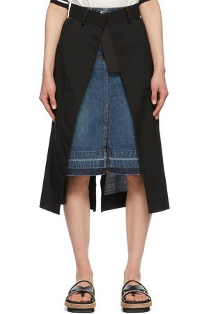 Sacai Women Denim Skirts - Black & Blue Denim Suiting Combo Skirt