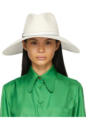 Gucci White Felt Wide Brim Horsebit Panama Hat