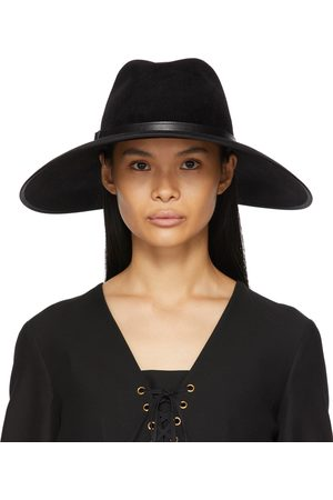 Gucci Black Felt Wide Brim Horsebit Panama Hat