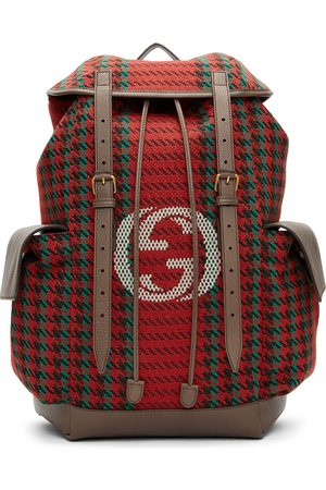 Gucci Men Suitcases - Red & Green Houndstooth GG Backpack