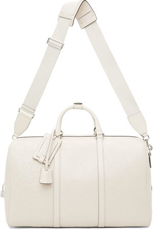 Gucci Men Suitcases - White GG Embossed Duffle Bag