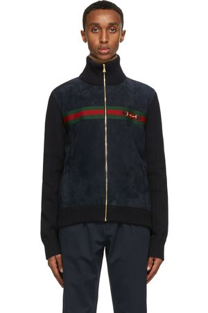 Gucci Men Leather Jackets - Navy Suede & Knit Bomber Jacket