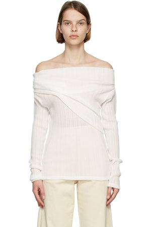 Nina Ricci White Off-The-Shoulder Long Sleeve T-Shirt