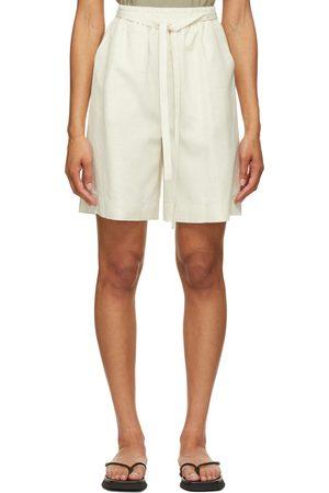 LE 17 SEPTEMBRE Off-White Linen-Blend Easy Shorts