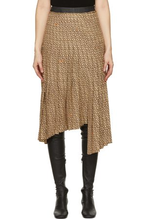 System Women Pleated Skirts - Beige & Brown Asymmetric Pleat Skirt