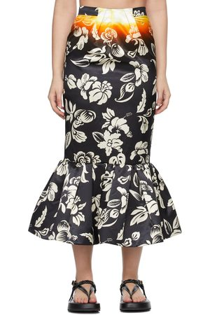 MERYLL ROGGE Satin Tropical Neon Skirt