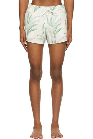 COMMAS Off-White & Green Short Length Swim Shorts