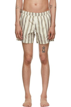 COMMAS Men Swim Shorts - Beige & Khaki Striped Classic Swim Shorts