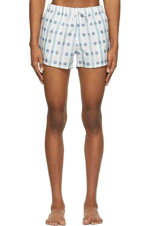 COMMAS Blue & White Art Deco Check Short Length Swim Shorts