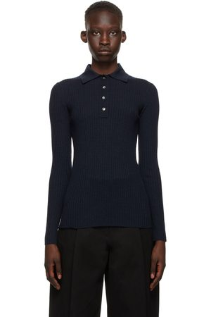 Studio Nicholson Navy Wool Latis Long Sleeve Polo