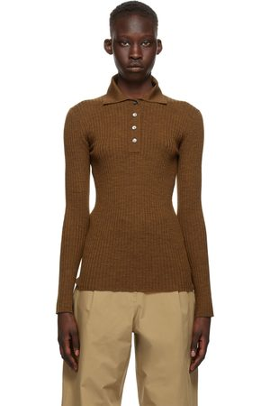 STUDIO NICHOLSON Tan Wool Latis Long Sleeve Polo
