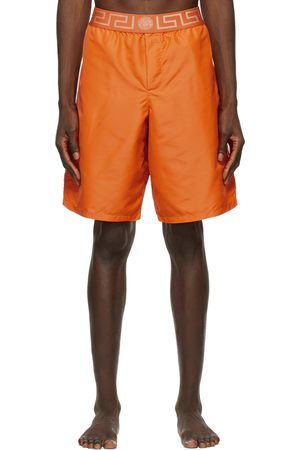 VERSACE Orange Greca Border Long Swim Shorts