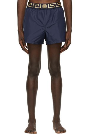 VERSACE Navy Greca Border Swim Shorts
