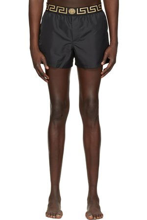 VERSACE Black Short Greca Border Swim Shorts