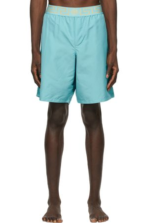 VERSACE Blue Greca Border Long Swim Shorts