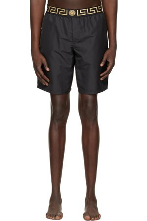Versace Underwear Black Long Greca Border Swim Shorts